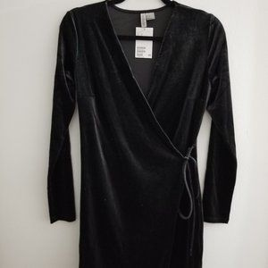 Velvet black wrap around dress